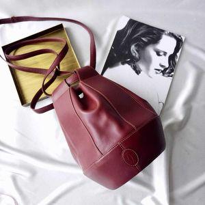 Cartier 卡地亚Vintage波尔多红球型水桶单肩包
