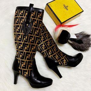 FENDI 芬迪限量款羊毛呢老花拼皮中高跟长筒靴子