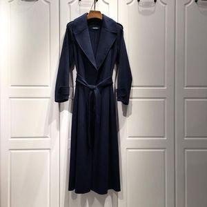 MaxMara 麦丝玛拉秋冬新款女士翻领深海蓝初剪羊毛大衣