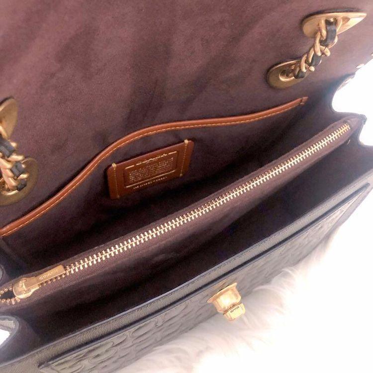 COACH 蔻驰1941纯牛皮黑色浮雕parker链条单肩斜挎包