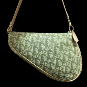 Dior 迪奥抹茶金老花马鞍手提包