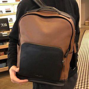 COACH 蔻驰新款男士休闲真皮双肩包背包电脑包