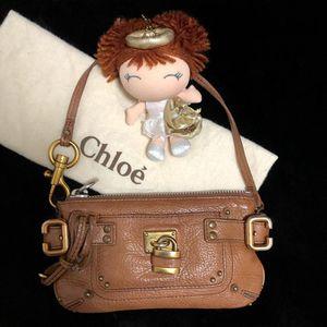 Chloé 蔻依经典锁头款焦糖色mini机车手提包