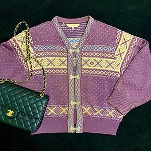 Dior 迪奥 香芋紫如意扣重工编织羊毛针织衫