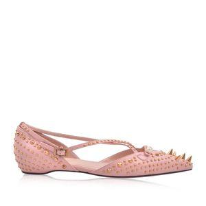 GUCCI 古驰 女士牛皮铆钉交叉带尖头浅口平跟鞋
