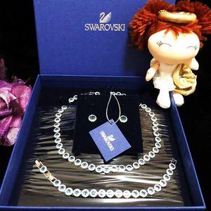 SWAROVSKI 施华洛世奇蓝水晶满钻镶嵌(项链+手链+耳钉)首饰套装