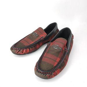 COACH 蔻驰红绿格纹夹棉毛呢豆豆平底鞋