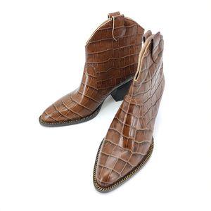 COACH 蔻驰棕色鳄鱼纹拉链粗跟短靴