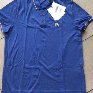 Moncler 蒙口男士蓝色短袖polo衫T恤