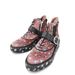 COACH 蔻驰粉色碎花厚底靴子