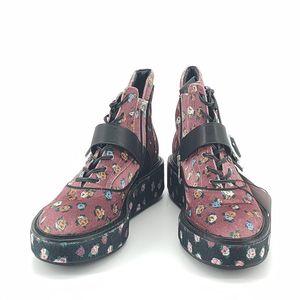COACH 蔻驰粉色印花丝绒靴子