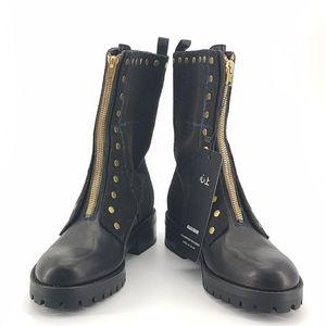 COACH 蔻驰绒面格子黑色靴子