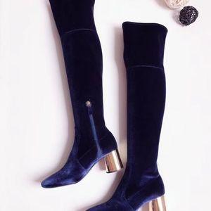 PRADA 普拉达女士金属后跟丝绒长靴