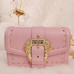 全新范思哲粉色铆钉皮革单肩斜跨手提包
