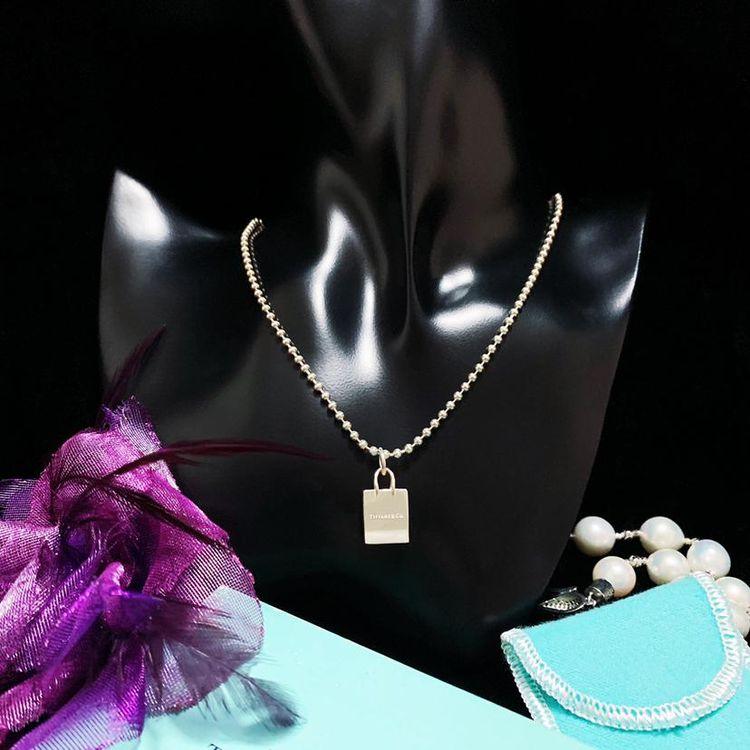 Tiffany & Co. 蒂芙尼 限量款立体托特手提包吊坠纯银珠珠项链