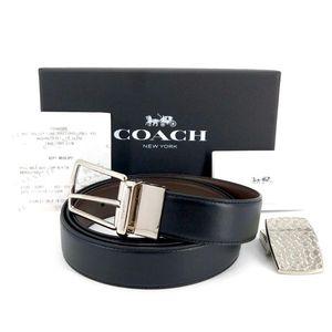 COACH 蔻驰男士双面双扣牛皮礼盒腰带