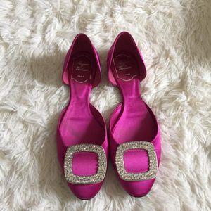 Roger Vivier 罗杰·维维亚chips女士钻扣绸缎平底鞋