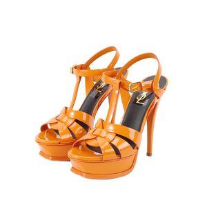 Yves Saint Laurent 伊夫·圣罗兰漆皮橙色高跟鞋