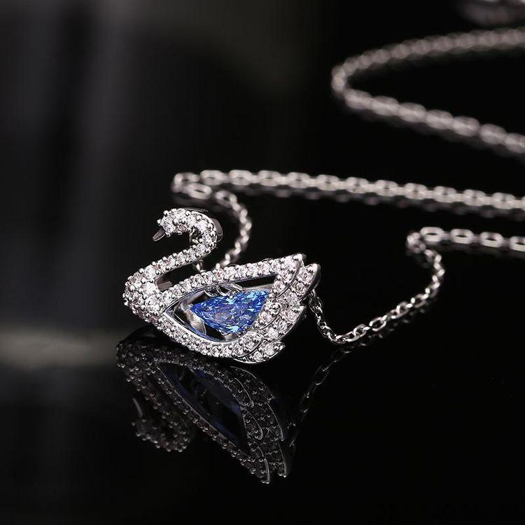 SWAROVSKI 施华洛世奇 2020新款蓝色跳动的天鹅项链