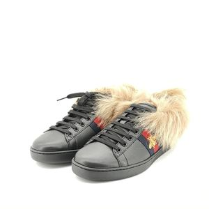 GUCCI 古驰黑色蜜蜂毛毛运动鞋