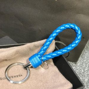 Bottega Veneta葆蝶家蓝色羊皮编织钥匙扣/挂件