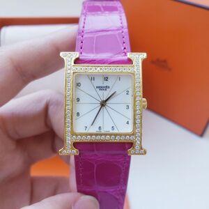 Hermès 爱马仕H hours系列镀金后镶钻石英女表