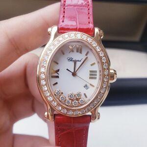 Chopard 萧邦HAPPY DIAMONDS系列玫瑰金椭圆后镶钻石英女表