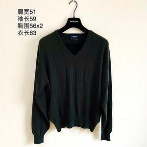 Yves Saint Laurent 伊夫·圣罗兰 墨绿色V领纯羊绒毛衣男士针织衫