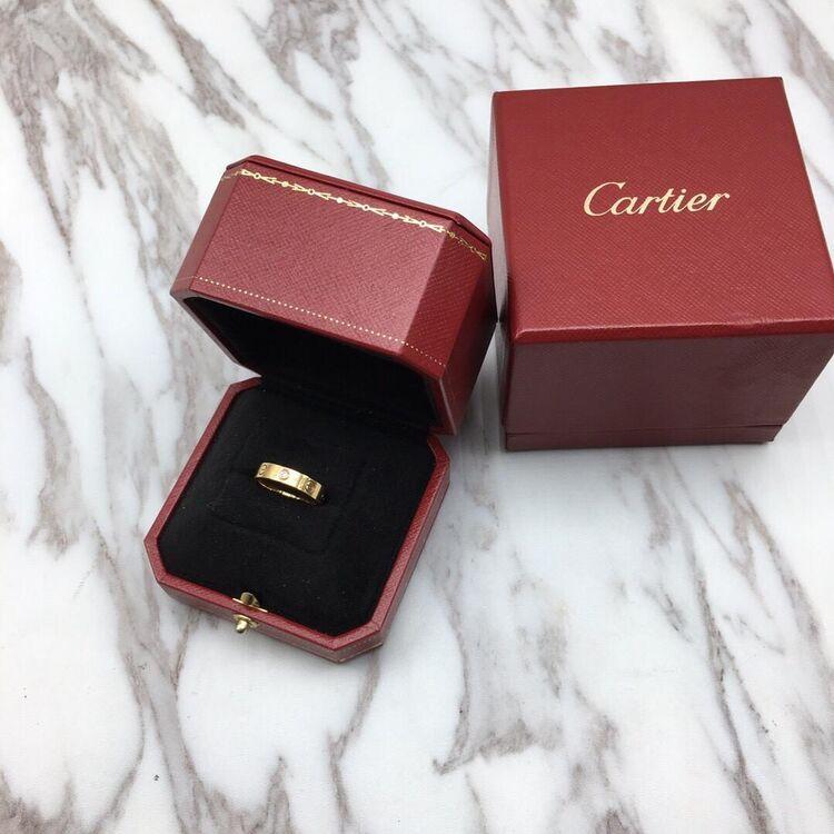 Cartier 卡地亚18K玫瑰金单钻戒指