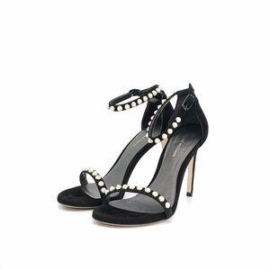 stuart weitzman 珍珠黑色高跟凉鞋