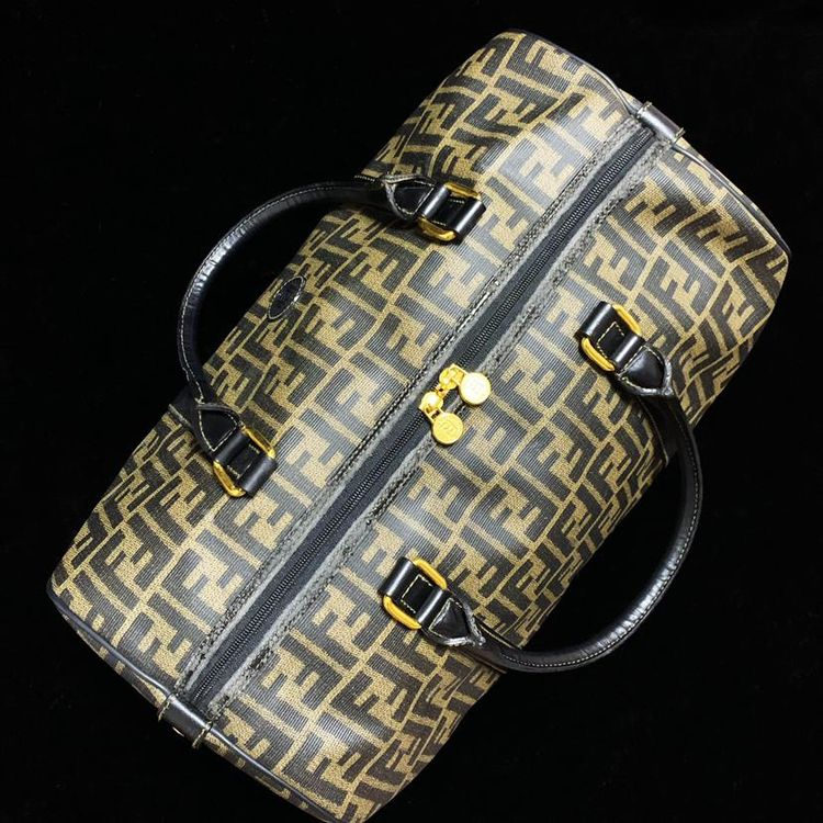 FENDI 芬迪 黑金老花PVC拼皮旅行包箱/行李包