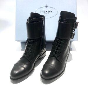 PRADA 普拉达女士平跟双扣马丁靴子