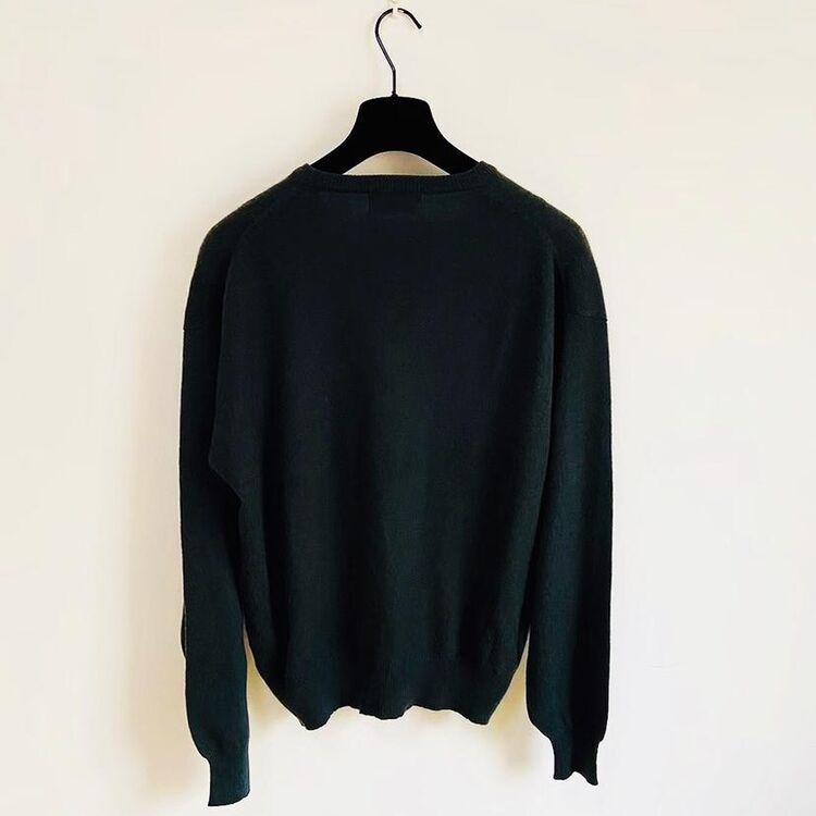 Yves Saint Laurent 伊夫·圣罗兰 墨绿色V领羊绒男士毛衣针织衫