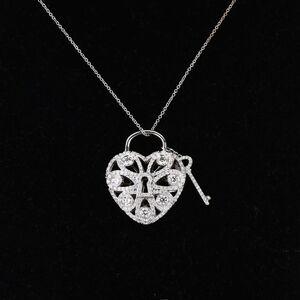 Tiffany/蒂芙尼18K白金镶满钻心形项链