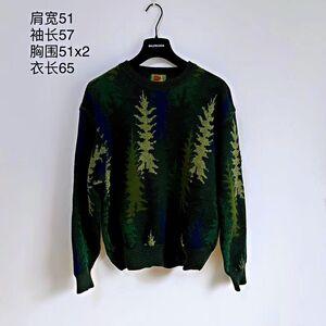 KENZO 高田贤三松树飘雪艺术图案时尚休闲羊毛针织衫