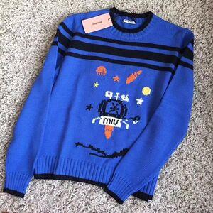 Miu Miu缪缪女士蓝色羊毛衫毛衣针织衫
