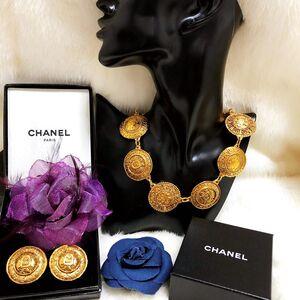 CHANEL 香奈儿限量款全包金重工雕花项链耳夹套装