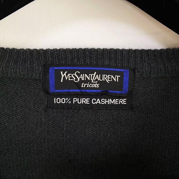 Yves Saint Laurent 伊夫·圣罗兰墨绿色V领纯羊绒男士毛衣针织衫