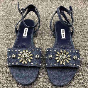 Miu Miu缪缪女士牛仔蓝铆钉水钻装饰凉鞋