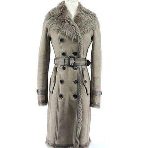 Burberry 博柏利灰棕色绒皮双排扣大衣