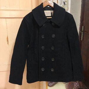 Burberry 博柏利男士黑色羊毛双排扣重工大衣