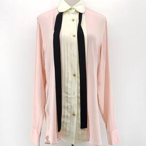 GUCCI 古驰粉色拼白色衬衫