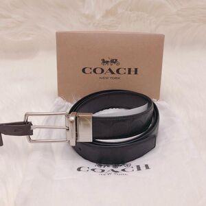 COACH 蔻驰男士黑色双面牛皮浮雕礼盒腰带