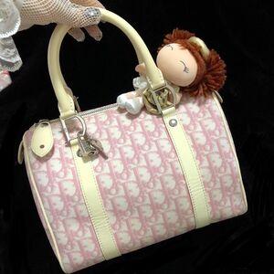 Dior 迪奥限量款粉白老花拼皮波士顿枕头手提包
