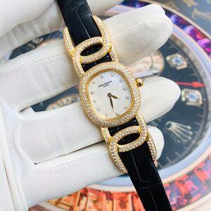 PATEK PHILIPPE 百达翡丽18k玫瑰金原钻石女士石英腕表