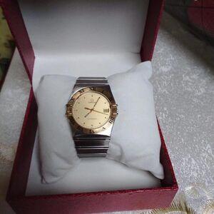 OMEGA 欧米茄18k金大表盘星座石英手表