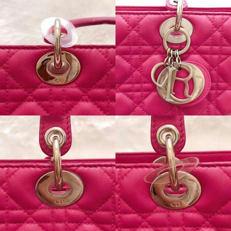 Dior 迪奥玫粉色七格小羊皮戴妃手提单肩包