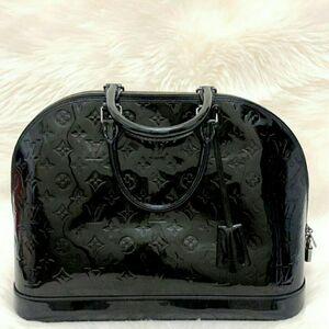 Louis Vuitton 路易·威登黑色漆皮大号Alma贝壳手提包
