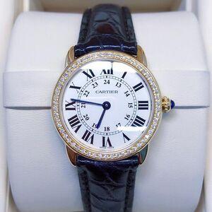 Cartier 卡地亚女士18k伦敦系列后镶钻石英女表