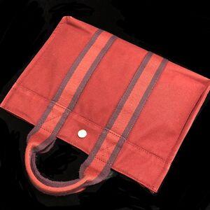 Hermès 爱马仕酒红色条纹小号帆布手提公文包